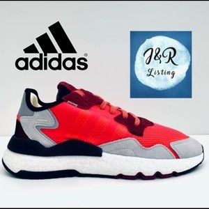 adidas NITE JOGGER Shoes Grey/Red Men's size 10